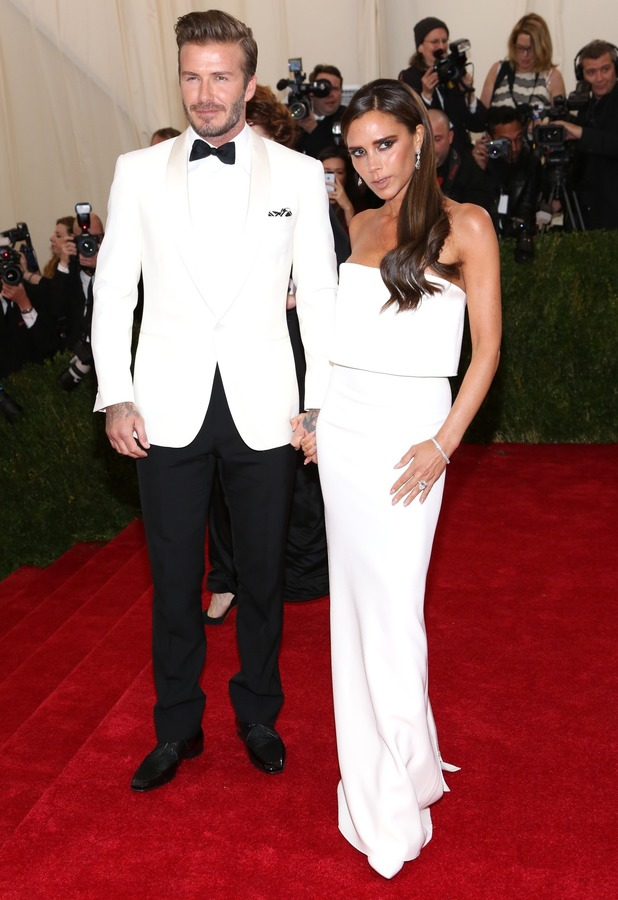 Victoria Beckham and David Beckham attend the Costume Institute Gala Benefit at the Metropolitan Museum of Art in New York, America - 5 May 2014