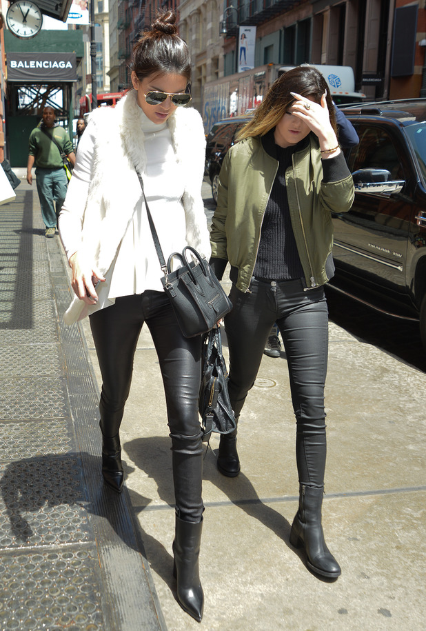 Kendall Jenner and Kylie Jenner head out in Soho, New York, America - 6 May 2014