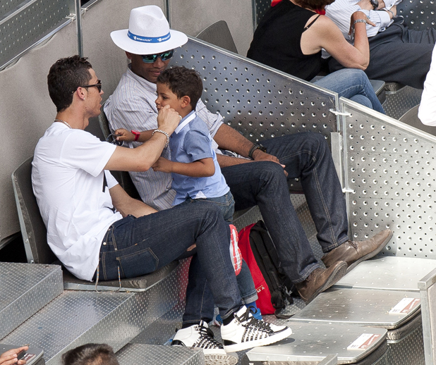 Cristiano Ronaldo and son Cristiano Jr at the Madrid Open Tennis, 8 May 2014