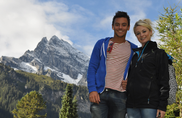 Tom Daley Goes Global, episode airing 8 May 2014: Tom and Sophie in Switzerland