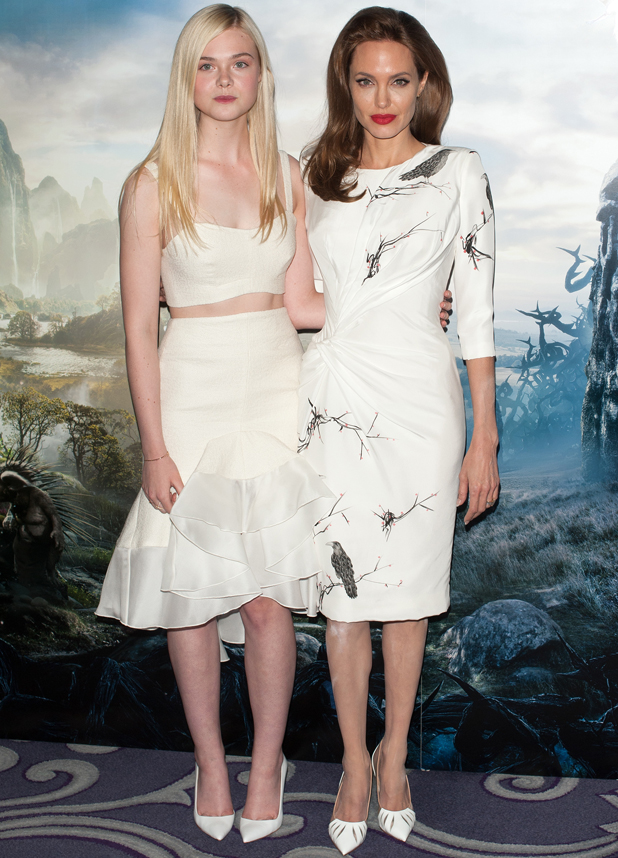 Angelina Jolie and Elle Fanning at 'Maleficient' photocall held at the Corinthia Hotel, 9 May 2014