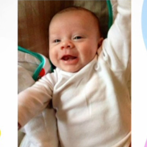 Michelle Heaton shows photo of baby son Aaron Jay while appearing on ITV's Lorraine, 7 May 2014