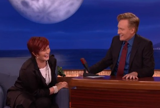 Sharon Osbourne on Conan O'Brien's show, talking about how she's fed up with reality talent shows, 8 May 2014