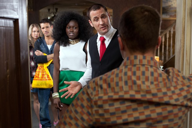 Hollyoaks, Tony and Blessing talk to Dennis, Fri 16 May