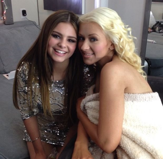 Christina Aguilera poses with The Voice US season 5 runner-up Jacquie Lee, 16 December 2014