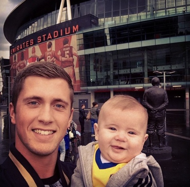 TOWIE's Dan Osborne takes son Teddy to the Emirates Stadium (12 May).