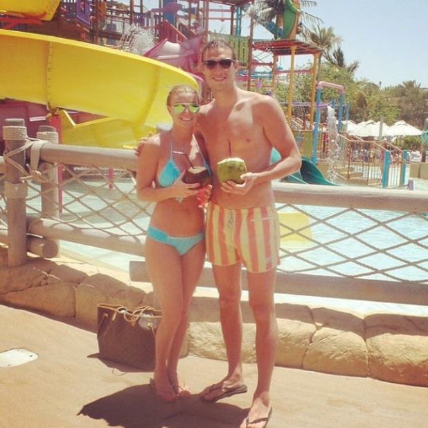 Former TOWIE star Billi Mucklow shows off her bikini body with Andy Carroll at a waterpark in Dubai - 15 May 2014