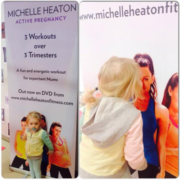 Michelle Heaton launches her fitness video 'Active Pregnancy' at The Baby Show in Birmingham with a little help from her daughter Faith, 17 May 2014