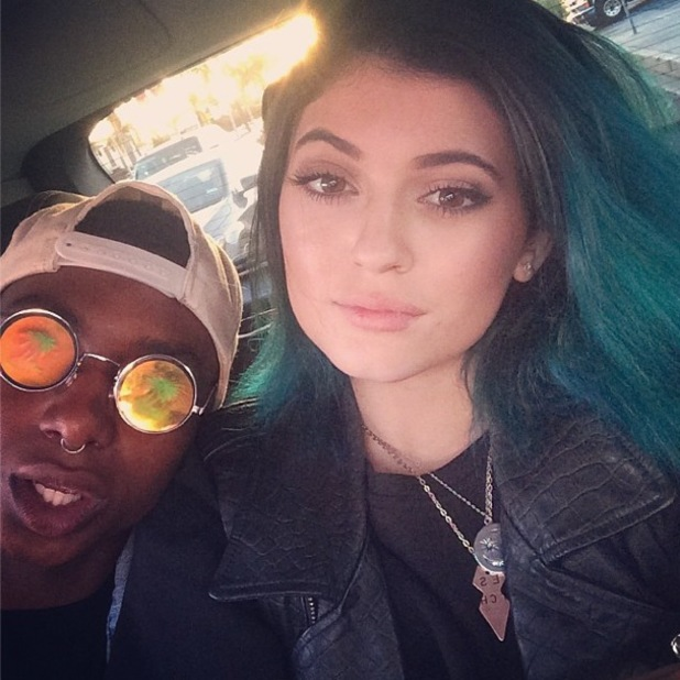 Kylie Jenner shows off new blue ombre hairstyle in an Instagram picture - 13 May 2014