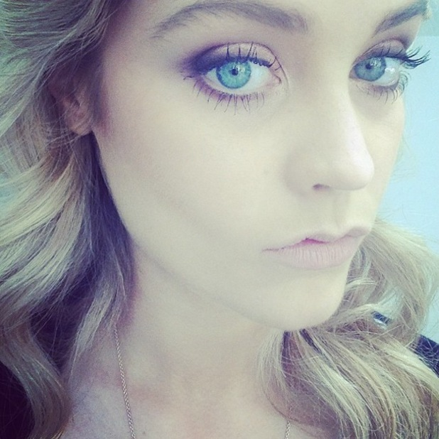Laura Whitmore shows off gold smoky eyes and nude lips while on a photoshoot - 14 May 2014