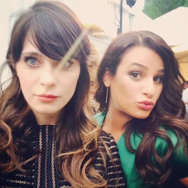 Lea Michele and Zooey Deschanel attend the 2014 Fox Upfront event in New York, America - 12 May 2014