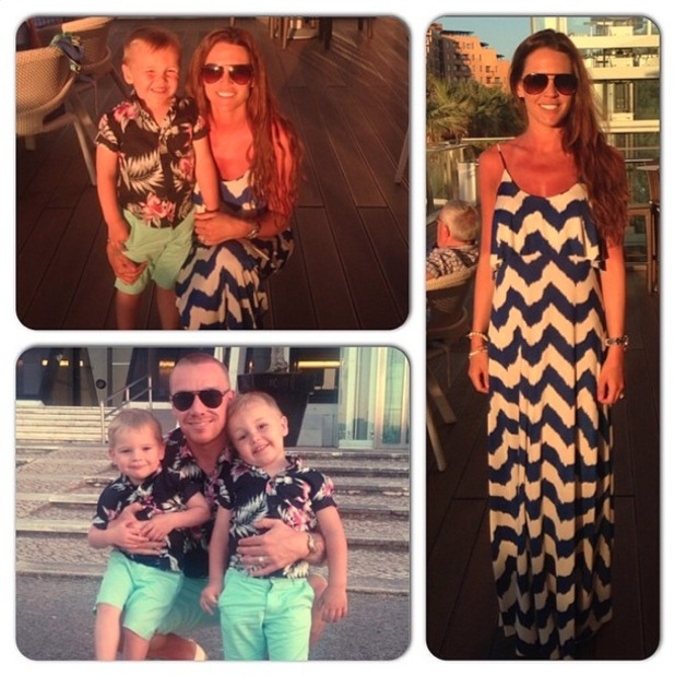 Danielle Lloyd shares selfies of herself, Jamie O'Hara and Archie and Harry while on holiday. Jamie and the boys are in matching outfits - 15 May 2014