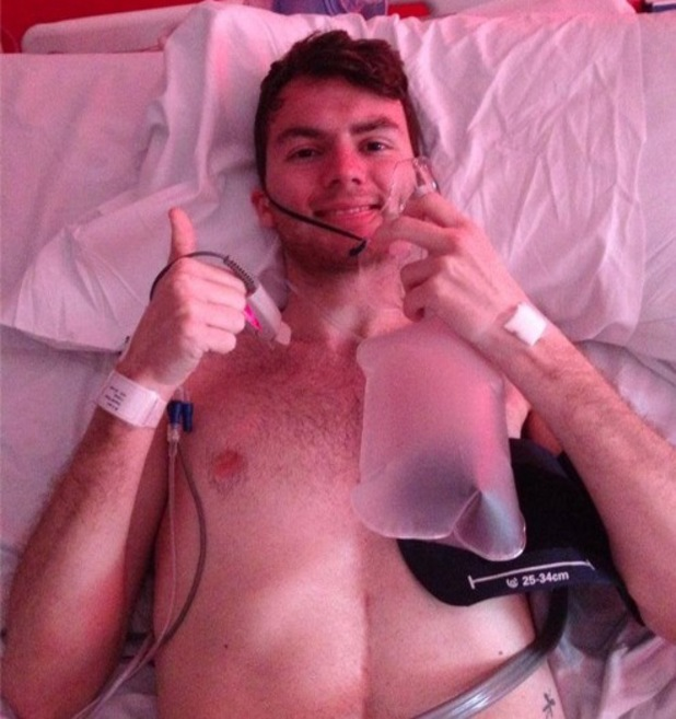 Stephen Sutton pictured in hospital before bucket list goes viral - April 2014