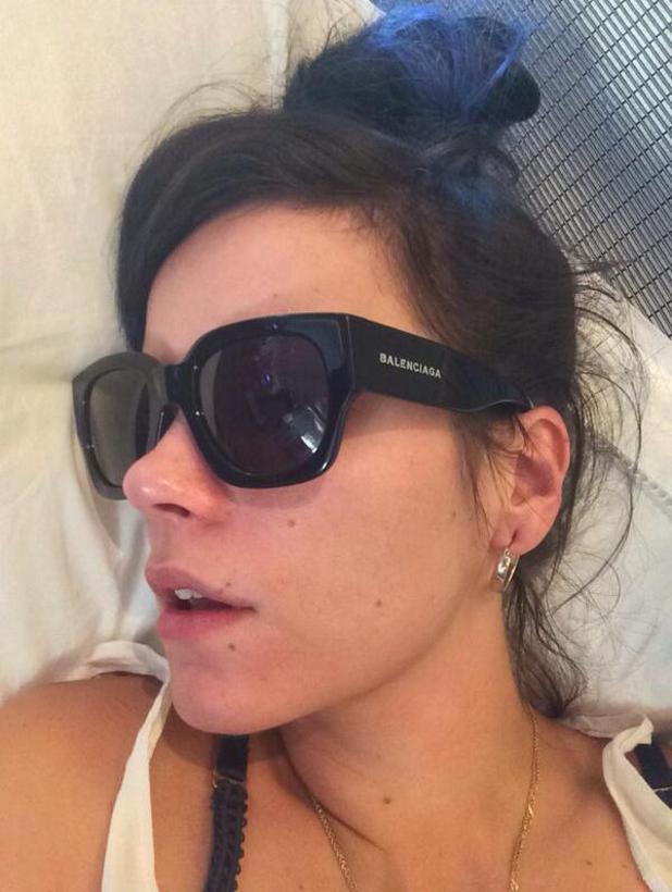 Lily Allen posts selfie of herself sleeping, 16 May 2014