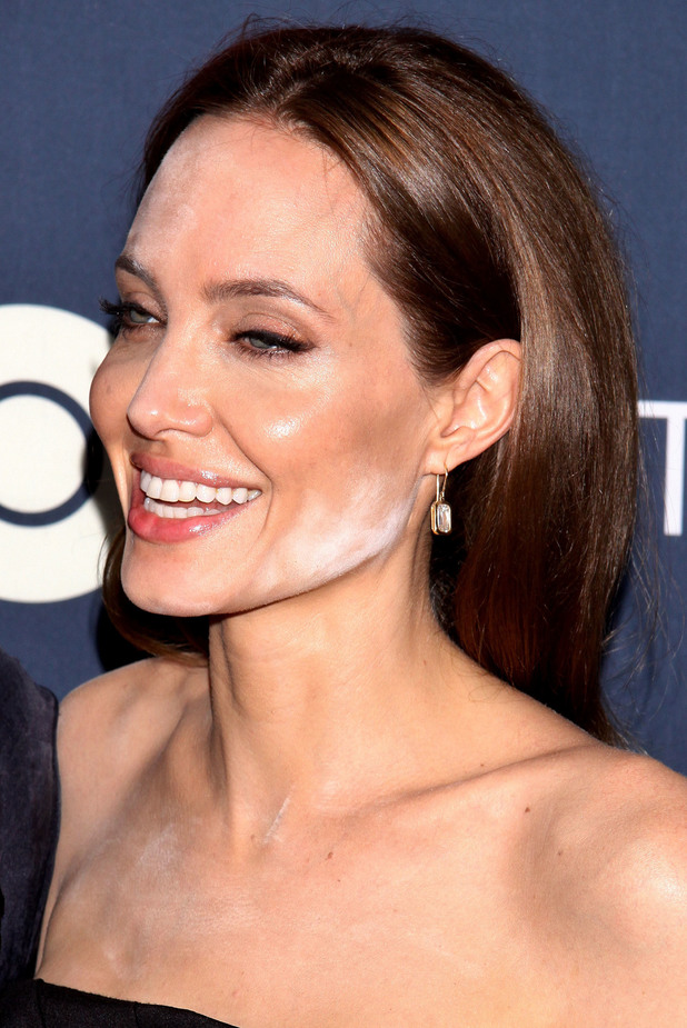 Angelina Jolie has a make-up fail with bright white face powder at the premiere of HBO's The Normal Heart in New York, America - 12 May 2014