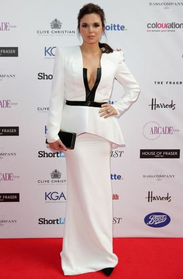 Jodi Albert wears cream plunging dress on the red carpet at the Fragrance Foundation Awards - 16 May 2014