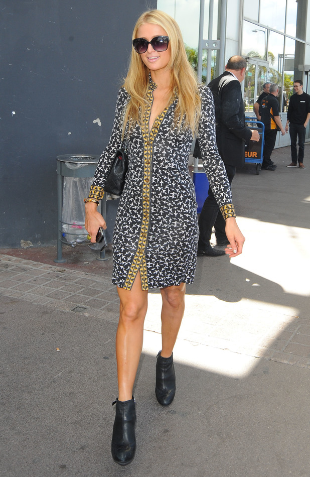 Paris Hilton arrives at Nice airport in France ahead of Cannes Film Festival - 14 May 2014