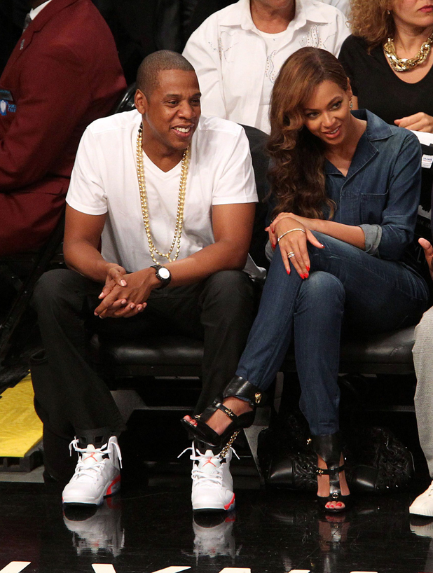 Jay Z and Beyonce Knowles attend Brooklyn Nets v Miami Heat, NBA BasketballPlayoff Game at the Barclay Center, New York, America, shortly after it's alleged that Beyonce's sister Solange argued with Jay Z at the Met Ball - 12 May 2014