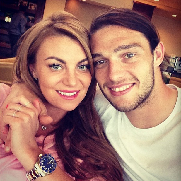 Andy Carroll and Billi Mucklow get ready to board a plane to Dubai, May 2014