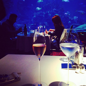 Billi Mucklow and Andy Carroll have date night in Dubai on the first day of their holiday, 12 May 2014