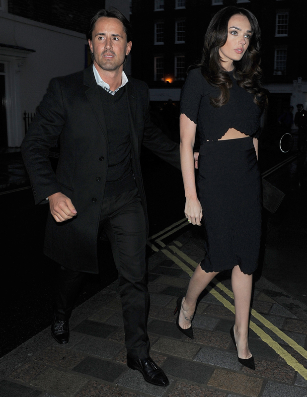 Tamara Ecclestone dressed in black and showing midriff at Chiltern Firehouse restaurant with husband Jay Rutland, 13 May 2014