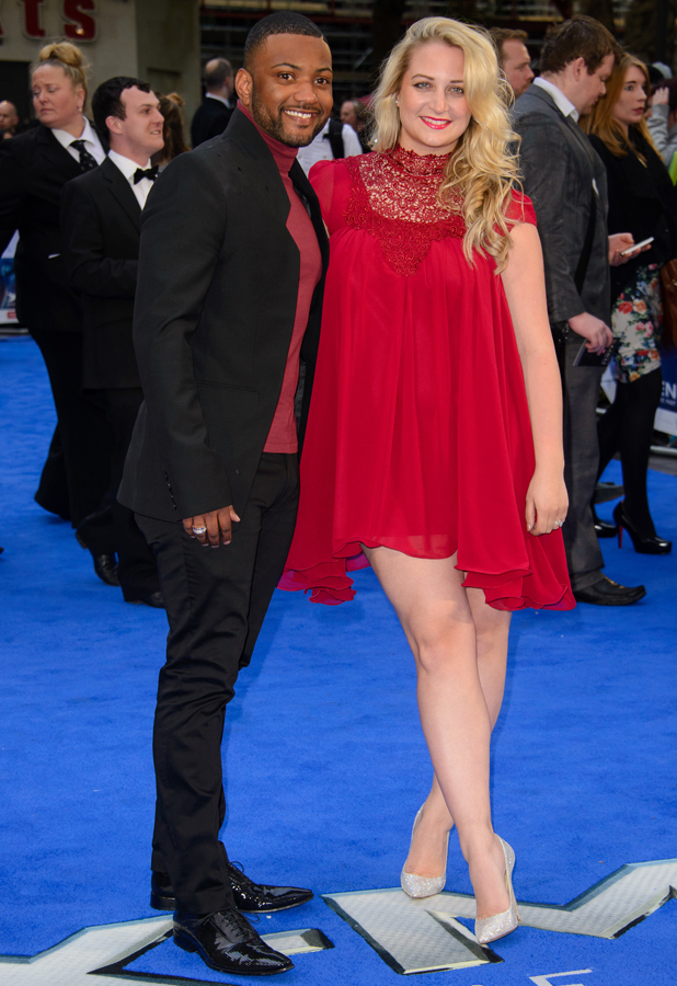 JB Gill and Chloe Tangney at the 'X-Men: Days of Future Past' U.K. Premiere, making their first red carpet appearance as newlyweds, London, 12 May 2014