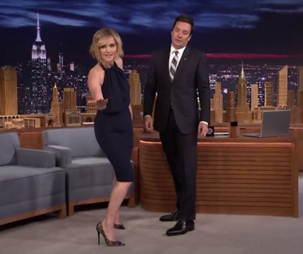 Jennifer Lawrence shows off her dancing skills while appearing on The Tonight Show starring Jimmy Fallon, 15 May 2014