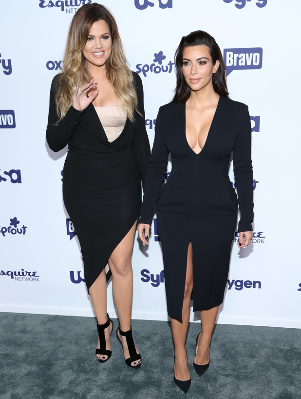 Kim and Khloe Kardashian at the NBC Universal Cable Entertainment Upfronts at The Jacob K. Javits Convention Center on May 15, 2014 in New York City.