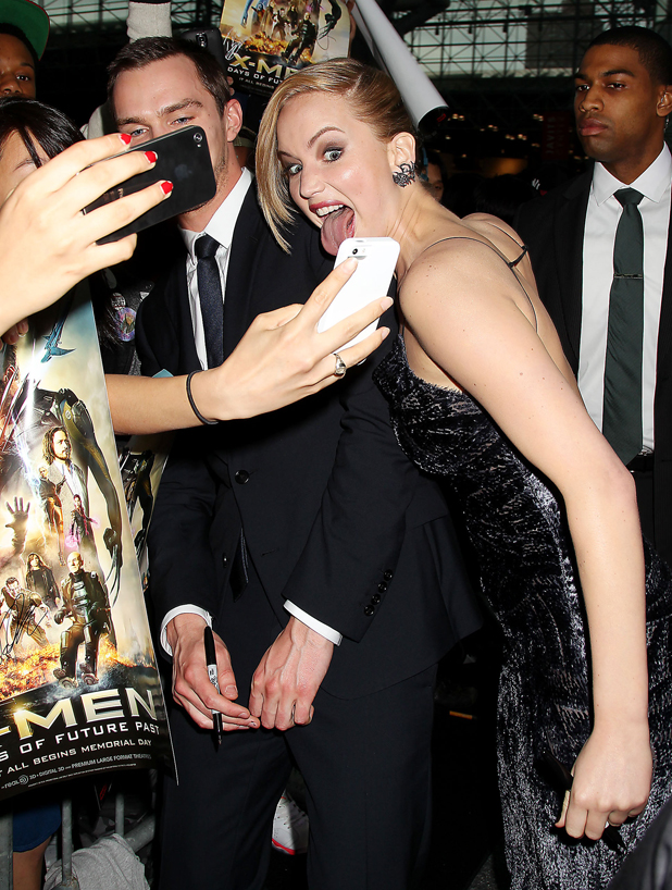 Nicholas Hoult and Jennifer Lawrence with fans, 'X-Men: Days of Future Past' film premiere, New York, America - 10 May 2014