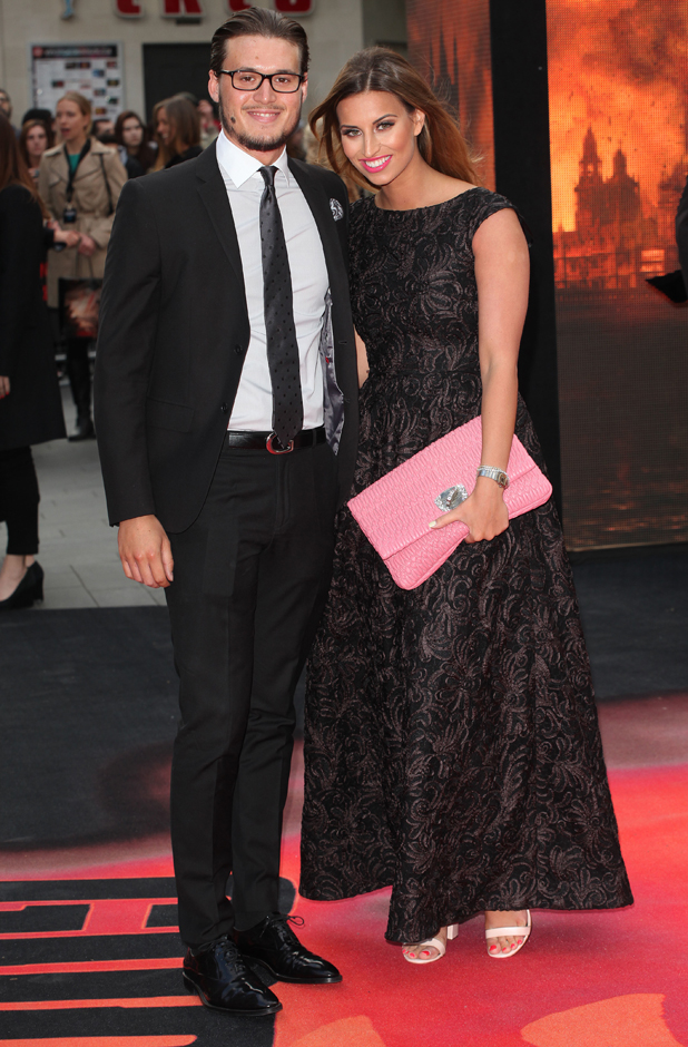 Ferne McCann and Charlie Sims at Godzilla premiere in London, 11 May 2014