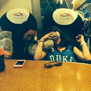 Hungover Brooke Vincent on train back to Manchester after British Soap Awards, 25 May 2014