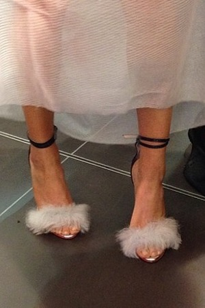 Ellie Goulding's fluffy shoes at the British Designers Collective - Instagram, 21 May