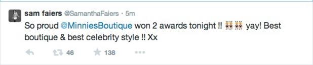 Sam Faiers tweet after Reveal Awards 20.05.14