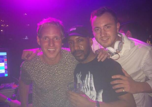 Made In Chelsea's Jamie Laing parties with Francis Boulle. (18 May).