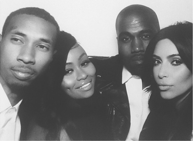 Newlyweds Kim Kardashian and Kanye West pose for a photo with Black Chyna and T-Raww during their wedding reception in Florence, Italy - 24 May 2014