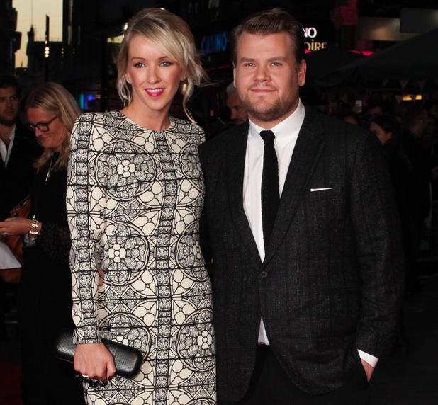 "James Corden and wife Julia Carey attend The European Premiere of ""One Chance"" during the 57th London Film Festival, 18 October 2014"