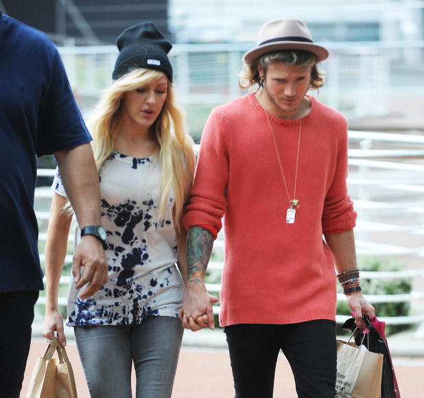 Ellie Goulding and Dougie Poynter spotted holding hands as they arrive back to their hotel after a shopping trip in Manchester 05/20/2014 Manchester, United Kingdom