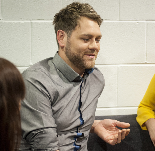 Brian McFadden, Laura Jackson, backstage at Stand By Your Man, Channel 5 April 2014 Reveal use only
