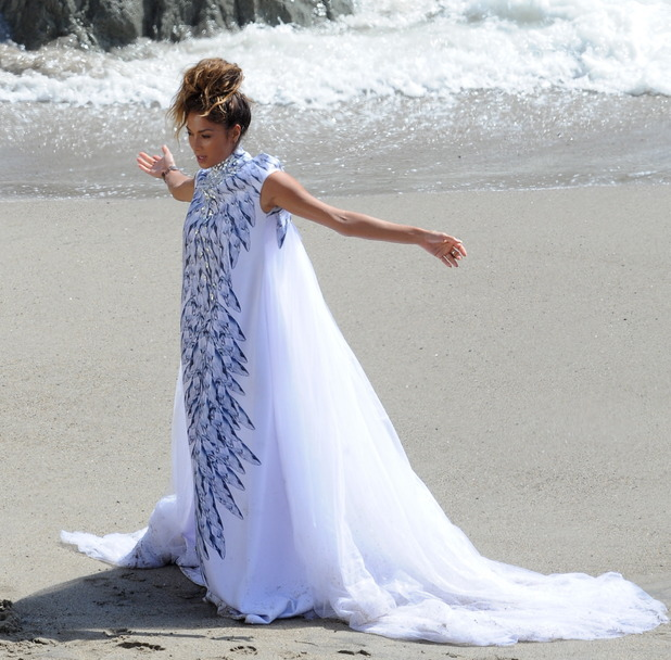"""Nicole Scherzinger films music video for """"Your Love"""" in Malibu. 19 May 2014."""