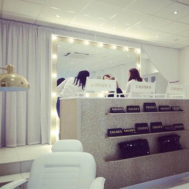 TOWIE's Chloe Sims Instagrams a picture inside her Chloe's Beauty Bar - 11 May 2014