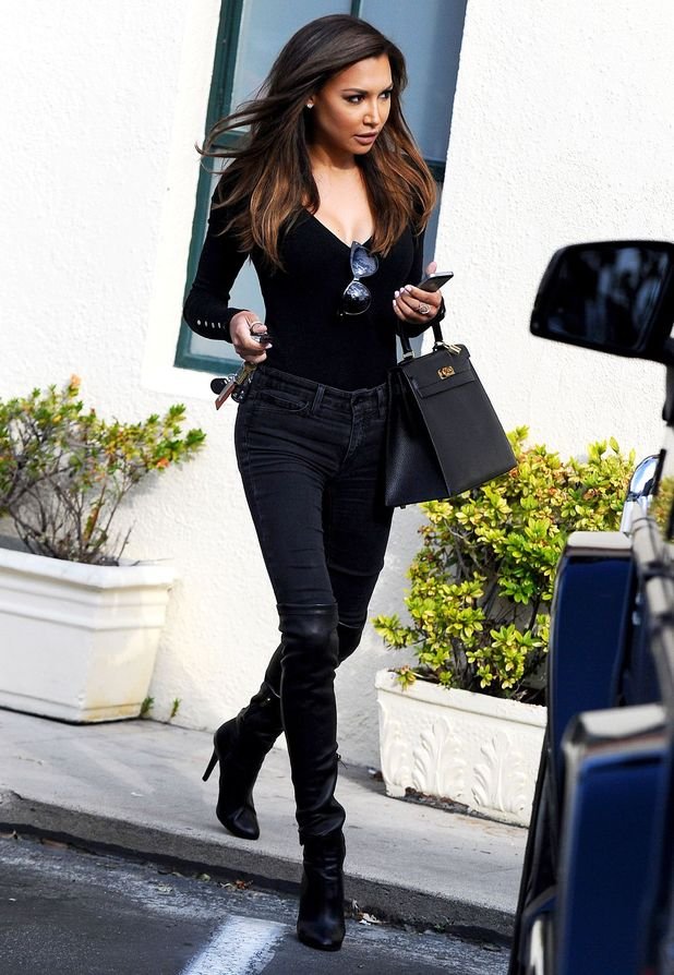 Naya Rivera wears over-the-knee boots as she leaves a salon in Los Angeles, America - 22 May 2014