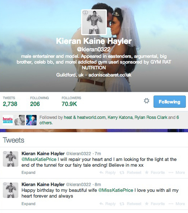 Kieran Hayler breaks silence on affair with messages to Katie Price, 22 May 2014