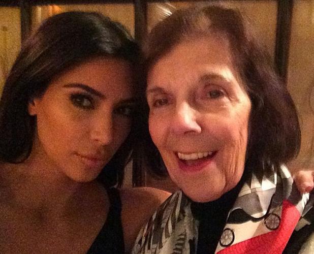 Kim Kardashian and grandmother Mary Jo Shannon in Paris ahead of Kim's wedding. 21 May 2014