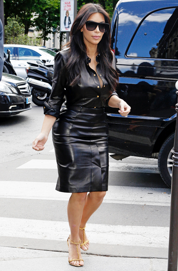 Kim Kardashian out and about in a leather dress two days before her wedding, Paris, France - 22 May 2014