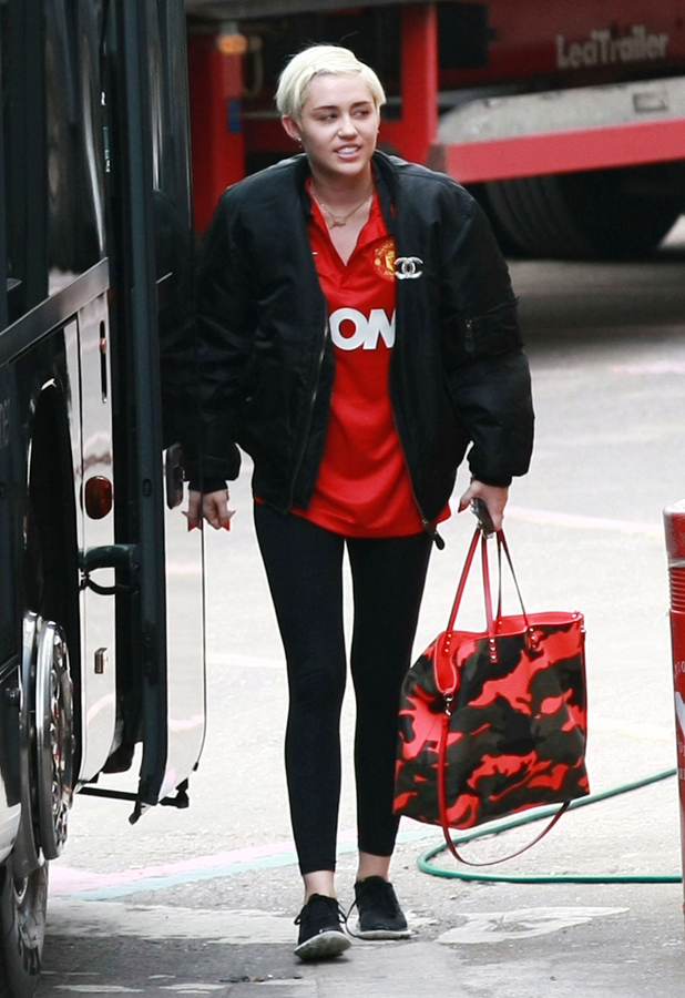 Miley Cyrus arriving at the NIA, Birmingham wearing a Manchester United shirt - 16 May 2014