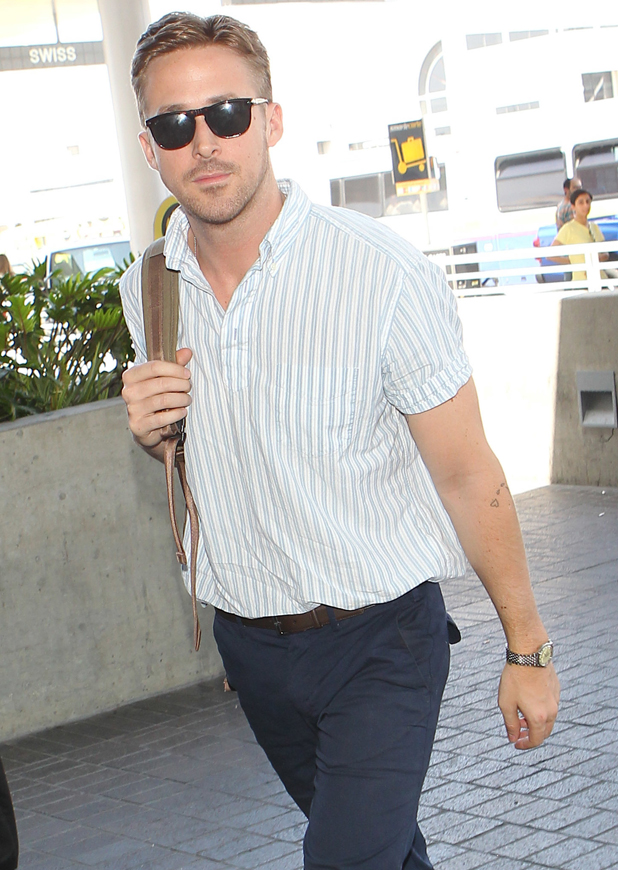 Ryan Gosling at Los Angeles International Airport, LAX, ahead of Cannes Film Festival directorial debut, 18 May 2014