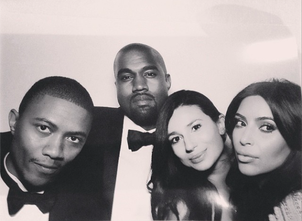 Newlyweds Kim Kardashian and Kanye West pose for a photo with IBN Jasper and partner during their wedding reception in Florence, Italy - 24 May 2014