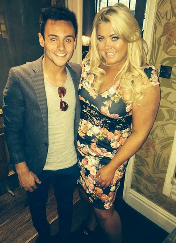 Tom Daley and Gemma Collins bump into each other in London on eve of Tom's 20th birthday, 20 May 2014