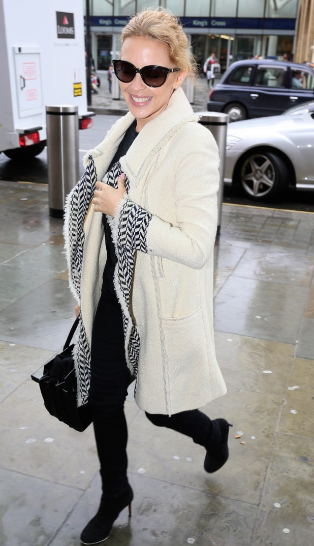 Kylie Minogue arrives at King's Cross St Pancras on 46th birthday