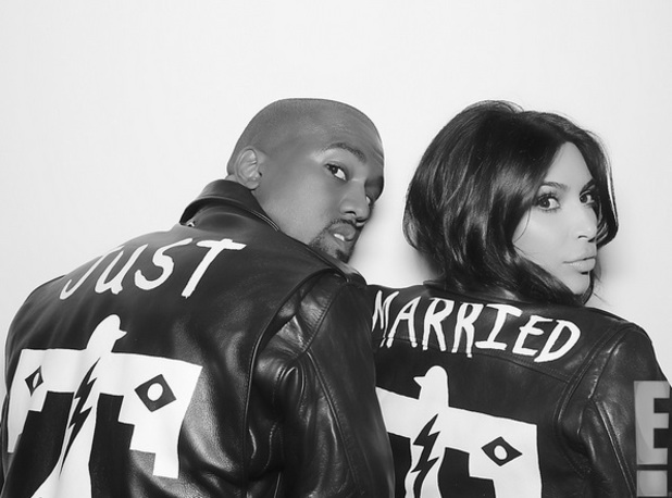 Khloe posts photo ofKkim Kardashian and Kanye West in Just Married jackets 27.05.14
